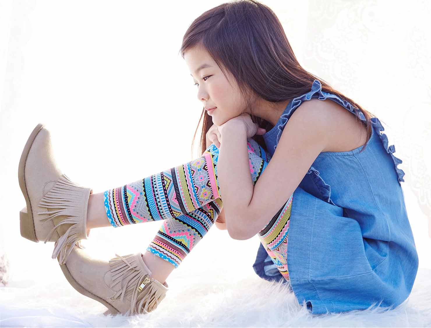 Photo of child in trendy clothing and shoes