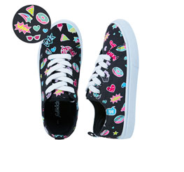 Emoji Black Lace Up Sneakers