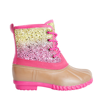 Lace Up Glitter Rain Boot