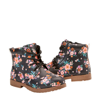 Printed Floral Lug Sole Boot