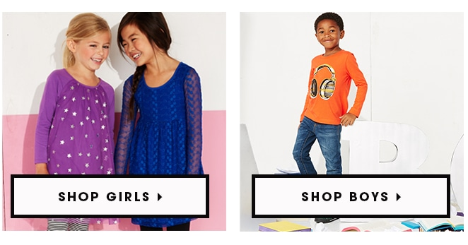 Shop girls or boys clothing