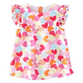 Heart Print Ruffle Sleeve Top
