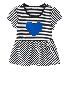 Heart Peplum Striped Top