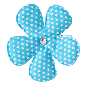 Polka Dot Blue Flower Clippie