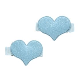 Glitter Double Heart Clips