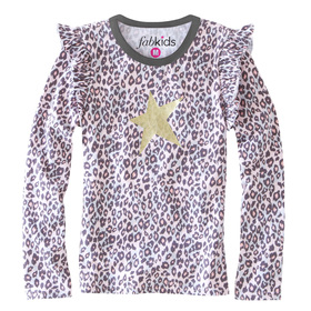 Animal Print Ruffle Star Tee