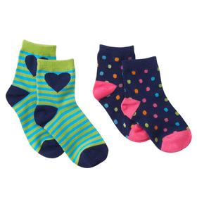 2 Pack Hearts & Dots Socks