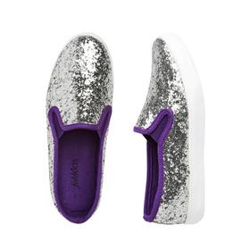 Silver Glitter Slip On