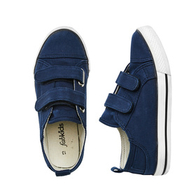 FabKids Shoes Two-Strap Sneaker Boys Blue Size 04 Our navy FabKids slip on sneaker is a wardrobe essential for everyday wear. With adjustable straps for easy on and off! Canvas upper and white rubber outsole.