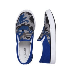 Blue Camo Canvas Slip On