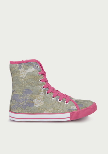 FabKids Shoes Camo High Top Sneaker Girls Camo Print Size T7 She is sure to love these fashion high tops that are so easy to wear! All-over gold lace and camo print with gold shimmers and contrasting pink trim. Side zipper for easy on and off.