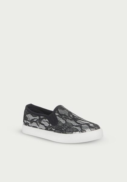 Metallic Lace Slip On
