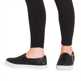 Black Glitter Slip On
