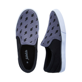 FabKids Shoes Lightning Bolt Slip On Boys Gray Size 10 Update his casual style with these Boys lightning bolt sneakers! Our FabKids slip on sneakers are kid and mom approved! Canvas upper with white rubber outsole.