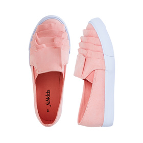FabKids Shoes Ruffle Slip On Girls Peach Size 01 Our cute and comfy slip on sneakers will add a little fab to her step! Featuring side elastic for easy slip on and go.