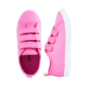 FabKids Shoes Multi-Strap Sneaker Girls Pink Size 03 Our FabKids multi-strap sneaker is a wardrobe essential for everyday wear. Featuring adjustable straps and back pull on loop for easy on and off! Sizes 7-12 have two straps. Canvas upper and man made outsole.