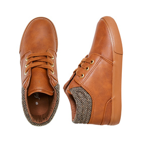 FabKids Shoes Faux Leather Mid Lace Up Boys Brown Size T8 These on trend Boys sneakers will be his new go-to! Made with faux leather material for easy care. Sizes 7-12 have elastic laces for easy on and off.