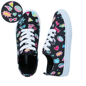 Emoji Black Lace Up Sneaker