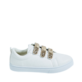 Faux Leather Glitter Strap Sneaker