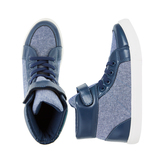Chambray Pieced High Top Sneaker