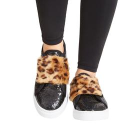 Faux Fur Strap Glitter Sneaker