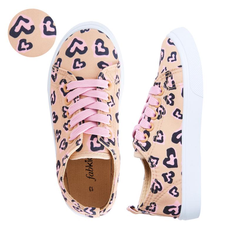 Cheetah Heart Lace Up Sneaker - FabKids
