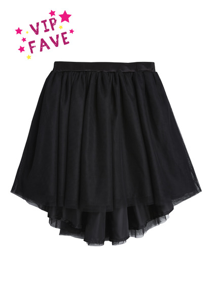 Black Hi-Low Tulle Skirt