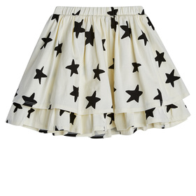 Star Print Tiered Knit Skirt