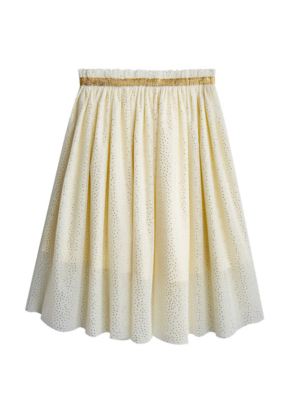 FabKids Skirts Gold Shimmer Tulle Skirt Girls Marshmallow Size XXS She will love our new on-trend midi tutu skirt! Complete with gold elastic waistband and layers of tulle in an all-over gold foil shimmer print. Fully lined for comfort and lots of twirl!