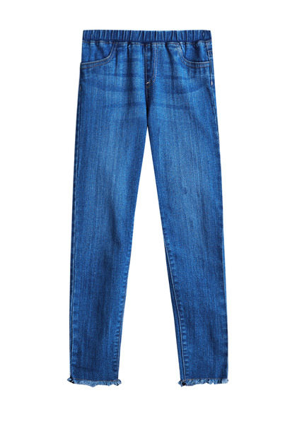 FabKids Jeans & Pants Frayed Cartwheel Jegging Girls Medium Wash Size 10 These super cute, easy-care denim jeggings are stretchy enough for cartwheels!! Featuring a frayed hem to update her casual wardrobe. Elasticized, pull-on waistband, faux front pockets and functional back pockets.