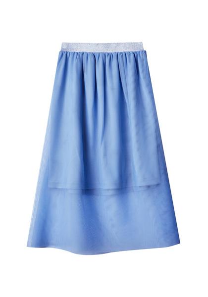 Tulle Overlay Midi Skirt