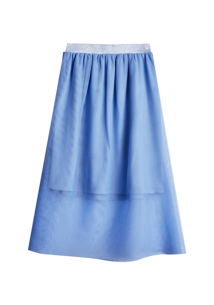 FabKids Skirts Tulle Overlay Midi Skirt Girls Periwinkle Size XS On trend tutu skirt with elastic waistband and overlay of tulle. Fully lined. Pair back to her favorite graphic tee or fashion knit top to complete her stylish look!