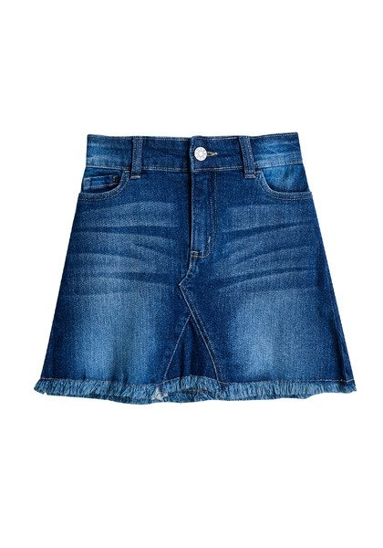 FabKids Skirts Frayed Hem Denim Skirt Girls Medium Wash Size 02 This denim skirt is a must have for your little fashionista! Featuring zip fly, front pockets and frayed hem. Pair back to a graphic tee or fashion knit top to complete her stylish look.