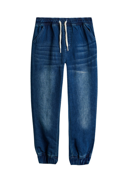 FabKids Jeans & Pants Denim Jogger Boys Medium Wash Size M Comfy and stylish french terry pant with side pockets, elastic waistband and cuffed pant legs. Loose fit around hips and skinny at ankle.