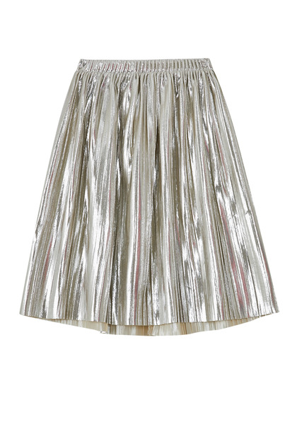 FabKids Skirts Metallic Pleated Skirt Girls Metallic Silver Size XL She will love our new on-trend midi skirt! Complete with elastic waistband and pleated metallic material. Fully lined for comfort and lots of twirl!