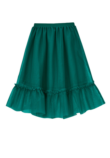 FabKids Skirts Tulle Overlay Tiered Skirt Girls Green Size XS She will love our new on-trend midi tutu skirt! Complete with elastic waistband and tulle overlay. Fully lined for comfort and lots of twirl!