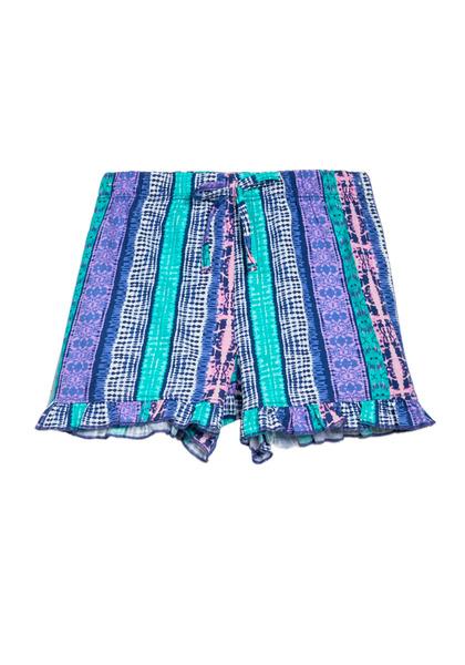 Knit Ruffle Hem Printed Shorts