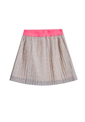 FabKids Skirts Pleated Shimmer Skirt Girls Gold Size M This pleated, lined skirt adds a sprinkle of moondust to your glam girl's look. Hot pink elastic band gives it a pop of color. She can mix & match it with her favorite tees, tanks, and leggings.