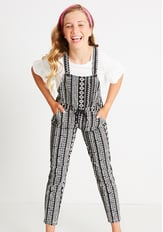 Tribal Print Knit Overalls
