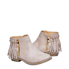 FabKids Shoes Fringe Back Bootie Girls Beige Size 01 Add a little fringe to her outfit with these fabulous ankle booties! Featuring faux suede material and 1 inch heel. Includes a side zipper for easy pull on and go!
