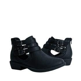 FabKids Shoes Studded Buckle Bootie Girls Black Size 11 Give her casual look some edge with these trendy Fabkids ankle booties! Featuring adjustable buckles and faux leather material for easy care!