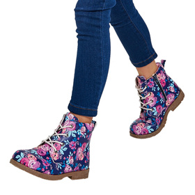 Floral Lace Up Boot