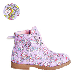 Unicorn Print Lace Up Bootie