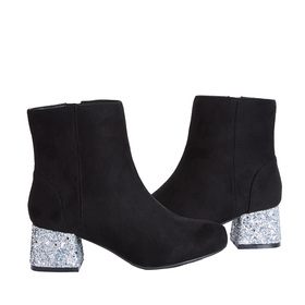 Velvet Glitter Stacked Heel Bootie