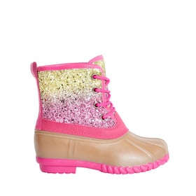 Lace Up Glitter Rain Bootie