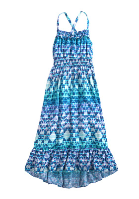 Blue Ikat Maxi Dress