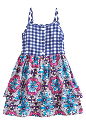 Print Mix Tiered Dress