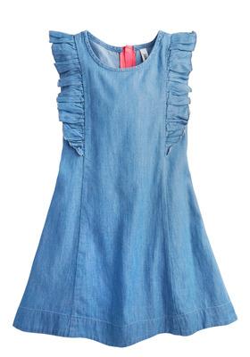 Chambray Flutter Sleeve Dress