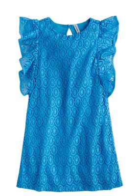 Eyelet Flutter Sleeve Dress
