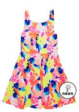 Neon Floral Skater Dress